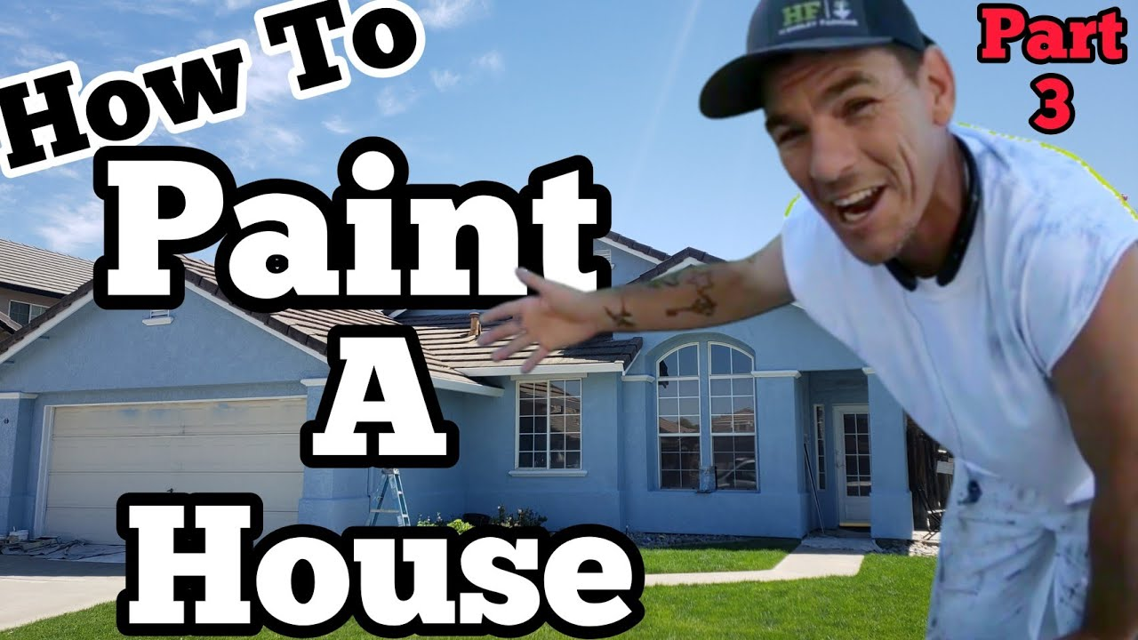 How to PAINT a HOUSE  part 3, Painting Exterior Stucco with Airless paint sprayer, self employed