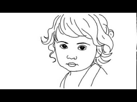 How to draw a cute baby girl yzarts yzarts youtube for Baby drawing easy