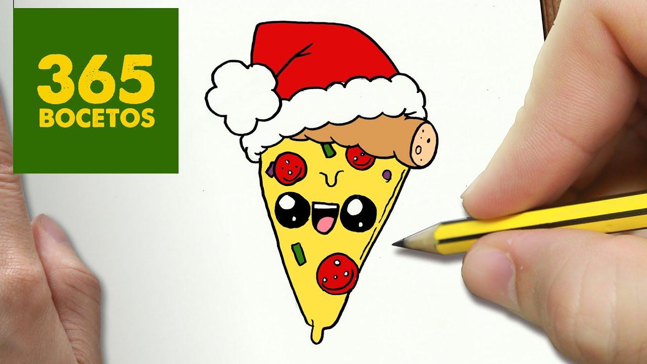 COMO DIBUJAR UNA PIZZA PARA NAVIDAD PASO A PASO: Dibujos