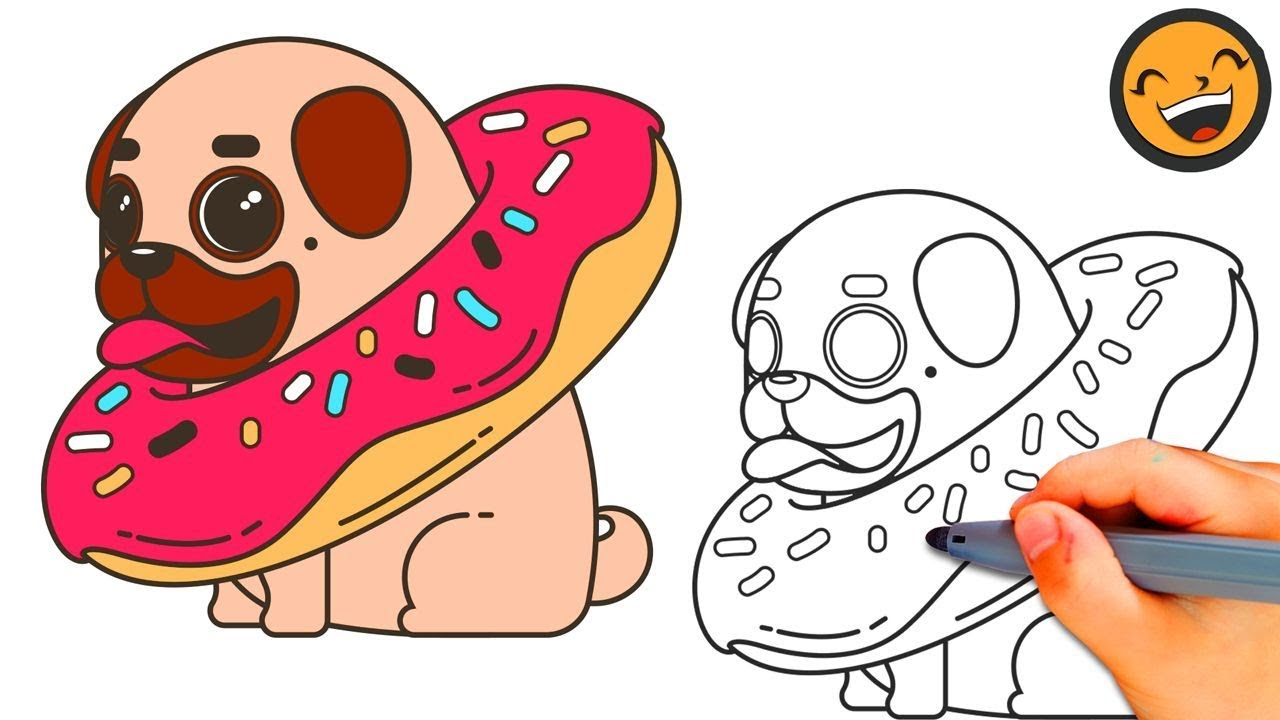 How To Draw A Pug With A Donut How To Draw A Pug Easy