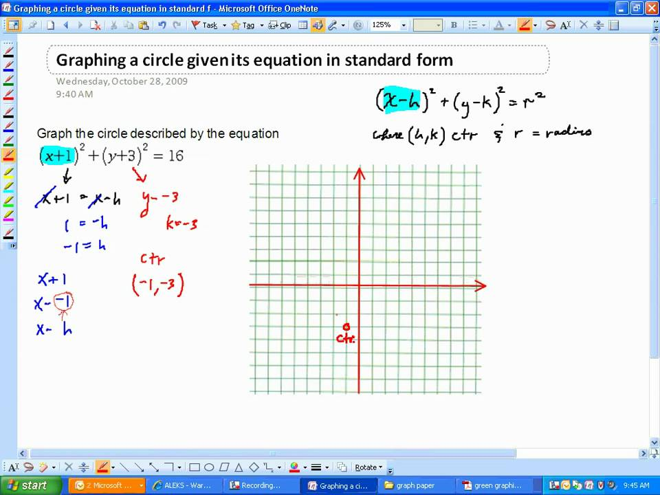 Graphing A Circle Given Its Equation In Standard Formwmv Youtube