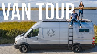 DIY VAN TOUR of Our New Tiny Home with Shower, Roof Deck, and Convertible Bed for Full-Time VAN LIFE