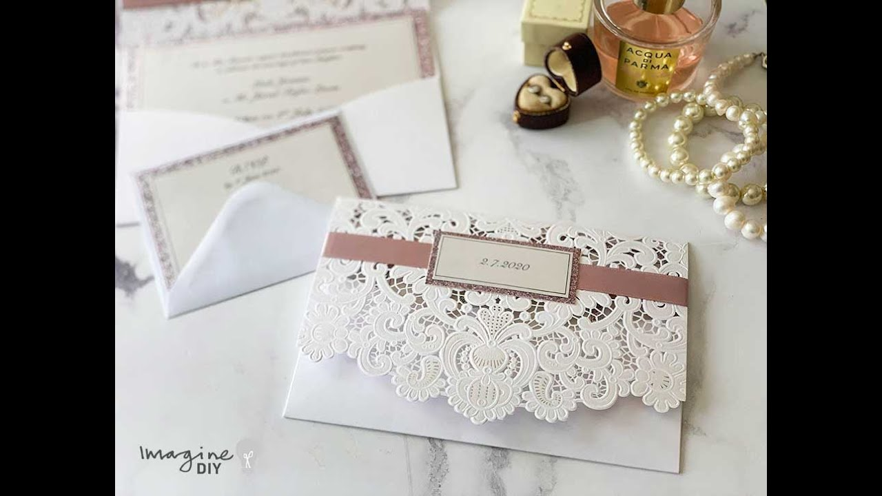 Make Your Own Luxury Wedding Invitations Diy With Laser Cut Pocket And Glitter