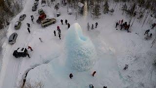 Сельский туризм. Ледяной фонтан вид с дрона. Национальный парк Зюраткуль