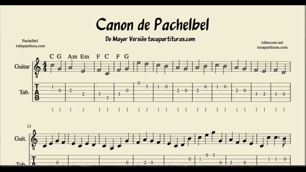 Pachelbels Canon Tabs Sheet Music For Guitar In C Major