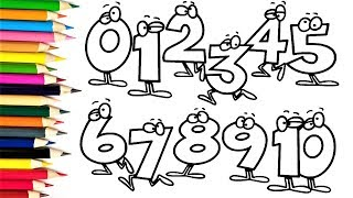Numbers Coloring Pages How to Draw Numbers 0 to 10 for Kids | Learn Numbers and Colors for Children