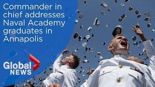 President Trump delivers keynote speech to Naval Academy graduates