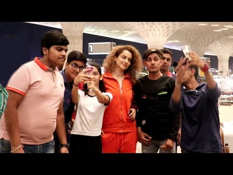 Kangana Ranaut's Sweet Gesture Taking Selfies With FANS At Airport Not Caring Abt Missing Her FLIGHT