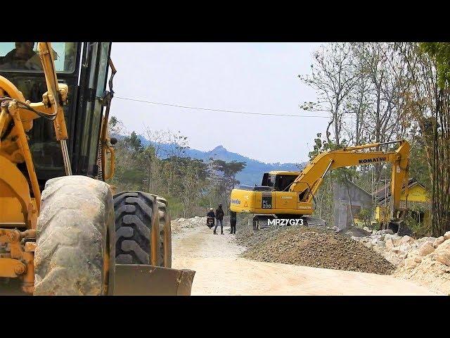 Excavator Motor Grader Dump Truck Working With Limestone On Road Construction