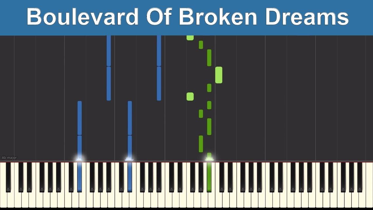 boulevard of broken dreams piano pdf