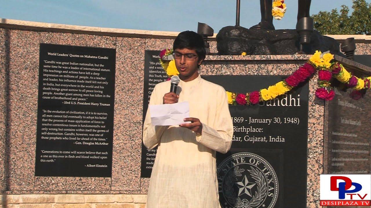 Aditya Murthy,Marcus High School student  speaking at Gandhi Jayanti Celebration