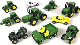 JOHN DEERE FARM TOY SET 20 PIECE PLAYSET WITH TRACTORS TRUCKS FARMING EQUIPMENT & HORSES - UNBOXING