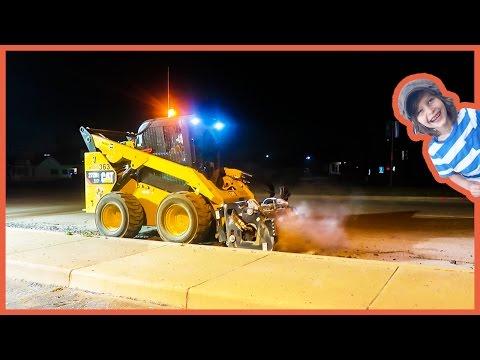 Construction Trucks Working at Night!