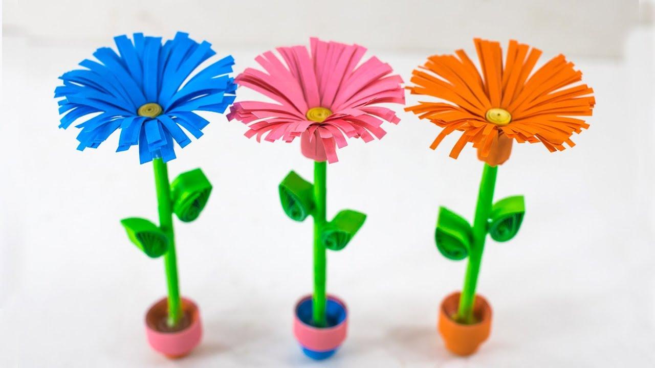 DIY - Small Paper Flower Pot | Miniature Vase | Handmade Craft ...