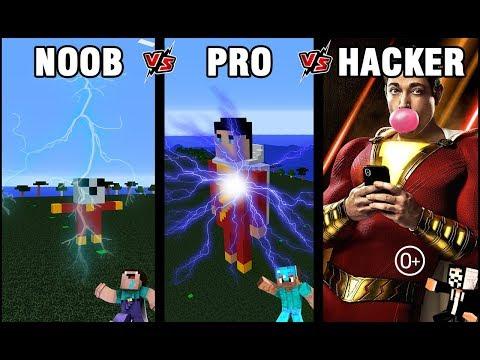 Shazam !!! Minecraft Battle: NOOB vs PRO vs HACKER: BUILD SUPERHERO SHAZAM CHALLENGE in Minecraft 0+