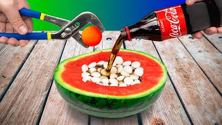 Watermelon Vs Coca Cola and Mentos! Experiment.