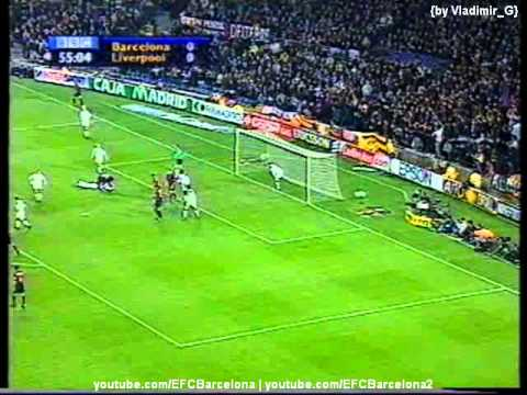 Barcelona - Liverpool UEFA Cup 06.04.2001 highlights, tricks