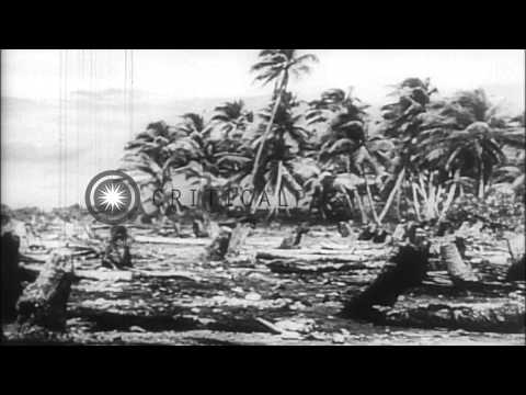 US troops take key Japanese bases in the Makin Islands during the World War II. HD Stock Footage