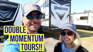 Grand Design Momentum 376TH and Momentum 350G   Toy Hauler RV Tours!   Full Time RV!