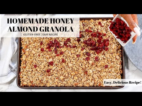 Homemade Honey Almond Granola made in less than 30 minutes! | Gluten-Free