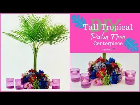 DIY Tall Tropical Palm Tree Centerpiece   DIY Beach Weddings   DIY Tutorial