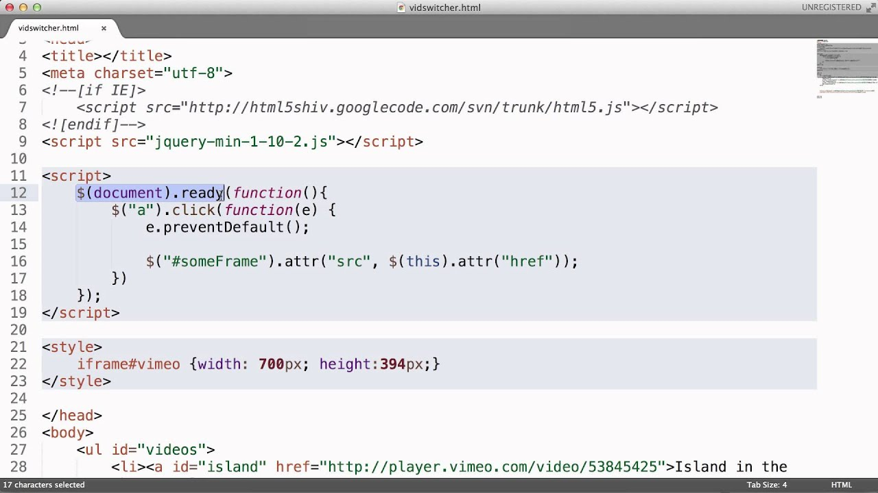 A Simple jQuery Script to Change an iFrame Source