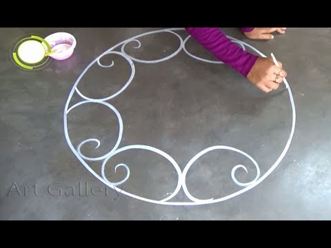 New Year Special Big Rangoli designs Road designs for new year - YouTube