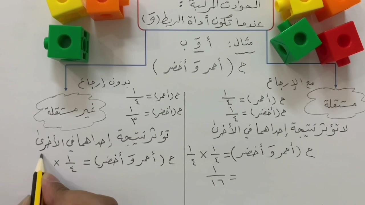 احتمالات الحوادث المركبة - رياضيات ثالث متوسط الفصل الثاني ١٤٤٢ هـ
