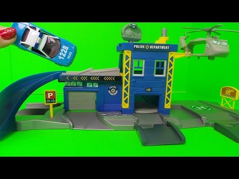 VANCOUVER SWAT TEAM & POLICE STATION Garage SET UNBOXING Inc.,  SQUAD CAR  & HELICOPTER