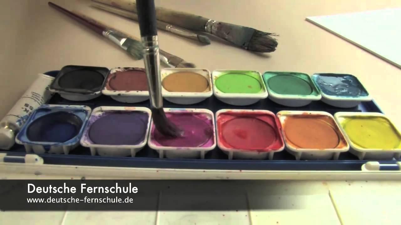 experimente mit wasserfarben deutsche fernschule youtube. Black Bedroom Furniture Sets. Home Design Ideas