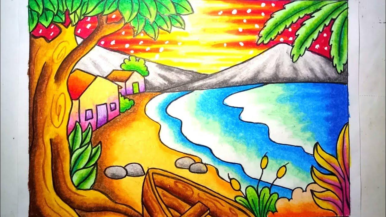 Mewarnai gradasi dengan crayon / Oilpastel : Pemandangan indah pantai | Drawing Beach Scenery #1