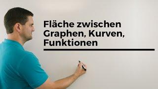 Fläche zwischen Graphen, Kurven, Funktionen, Integralrechnung   Mathe by Daniel Jung