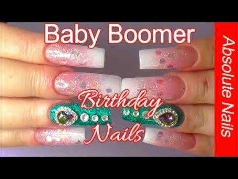 CRYSTAL WING BABY BOOMER LONG ACRYLIC NAILS | ABSOLUTE NAILS