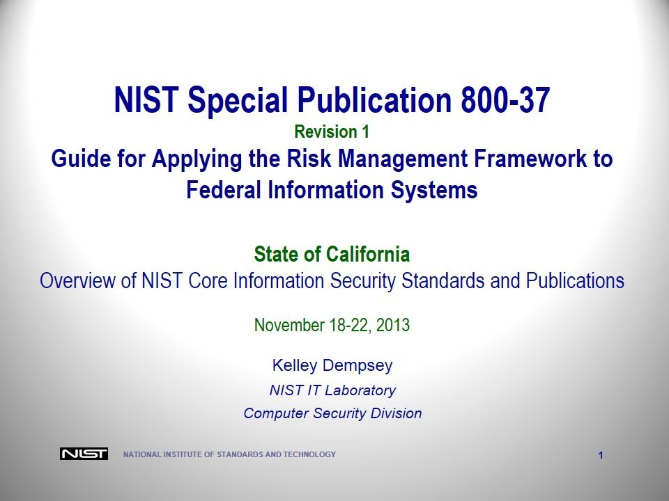 2013 Nist Training Pt 1 Sp 800 39 Hosted By The California
