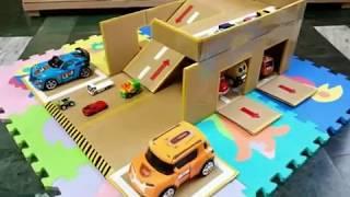 紙箱DIY自製大型雙層停車場☆大車小車+連機器戰士都可以停喔 ^_^ 【★梅子綠愛手作★】20170105/#004