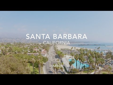 Flying over Santa Barbara Harbor - California Bay - Drone