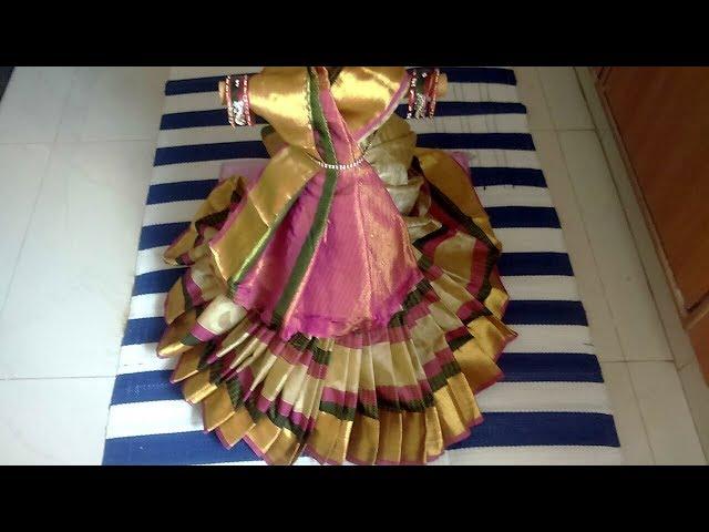 Varalakshmi saree drapping||How to drape saree for varalakshmi|Gouri saree wrapping|Gouri decoration