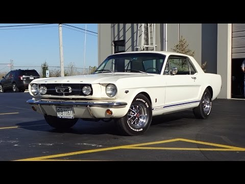 1965 Ford Mustang GT Coupe in White Paint & Engine Sound ...