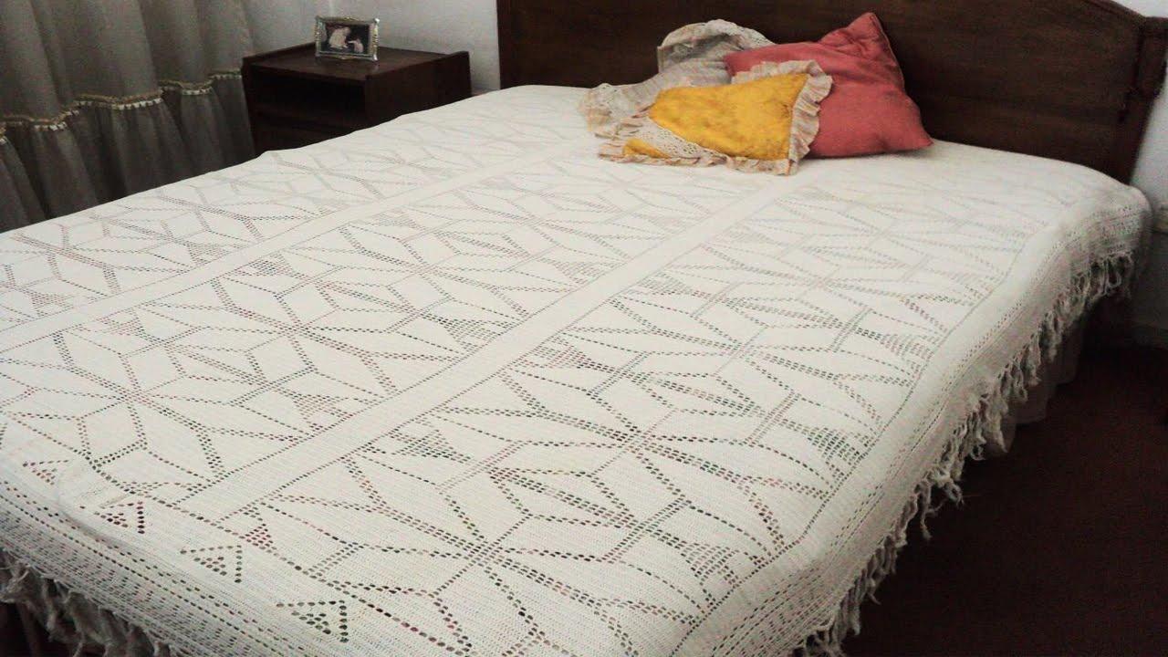 Cobertor de cama tejido a crochet manta doovi for Cobertor cama