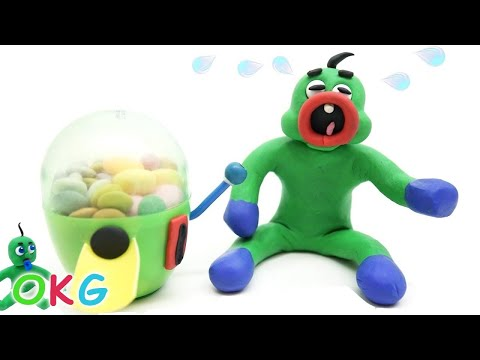 Superhero Helps Green Baby with Gumball Machine - Play Doh & Clay Stop Motion Kids Animations