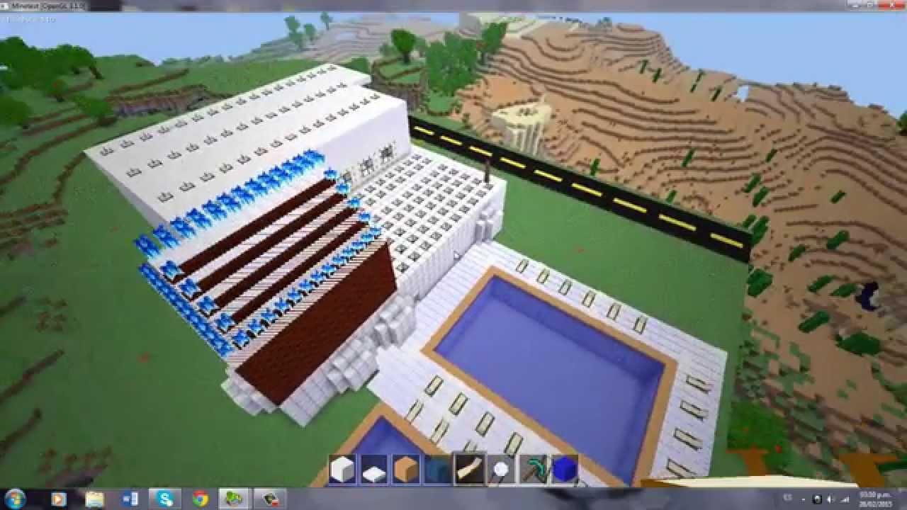 Como hacer una piscina en minecraft y minetest xd youtube for Como construir una piscina