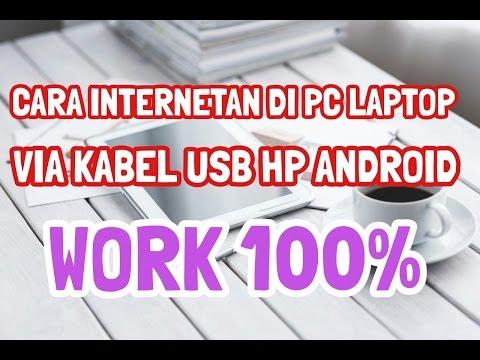 Cara menghubungkan koneksi internet HP android ke PC Laptop dengan Kabel Data ✅