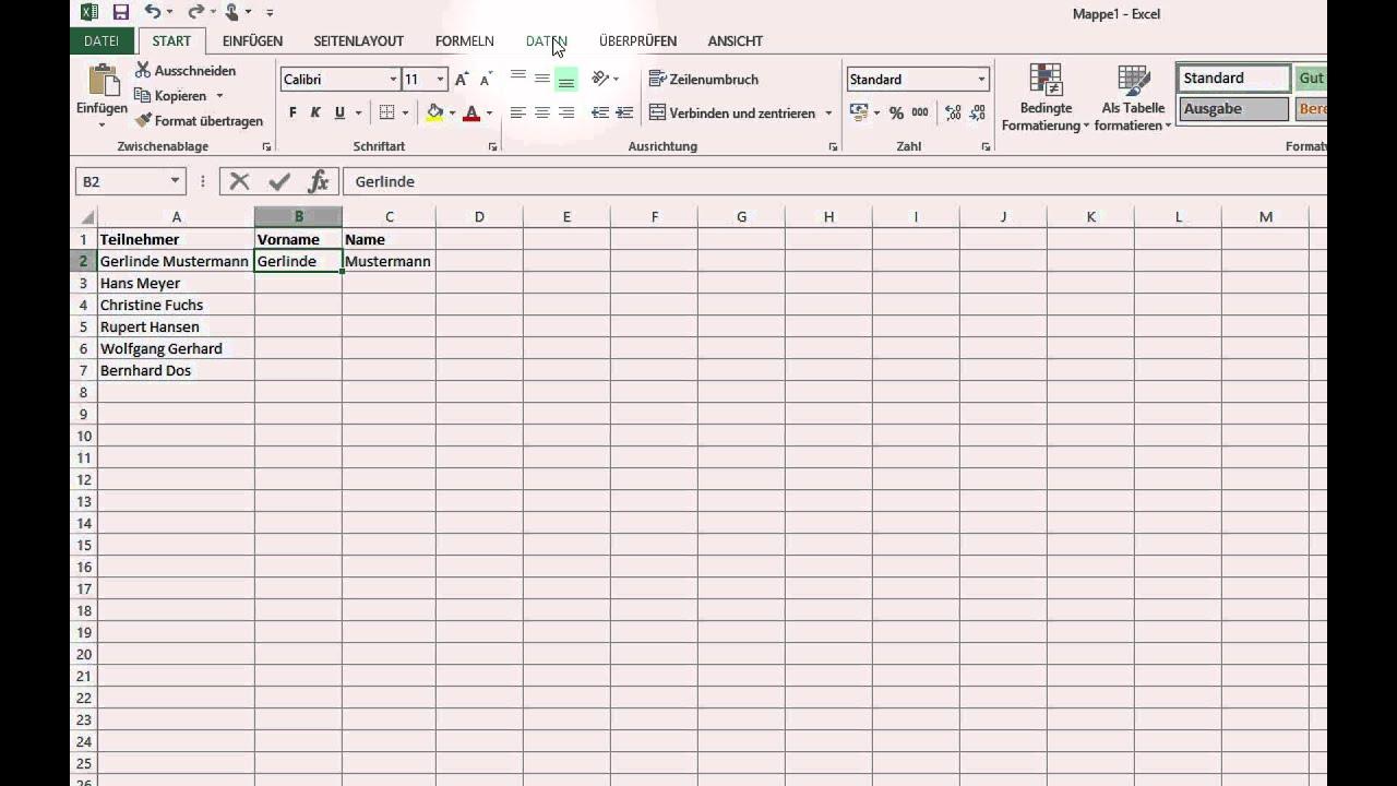 Excel Arbeitsblatt Trennen : Excel werte aus zellen trennen oder kombinieren