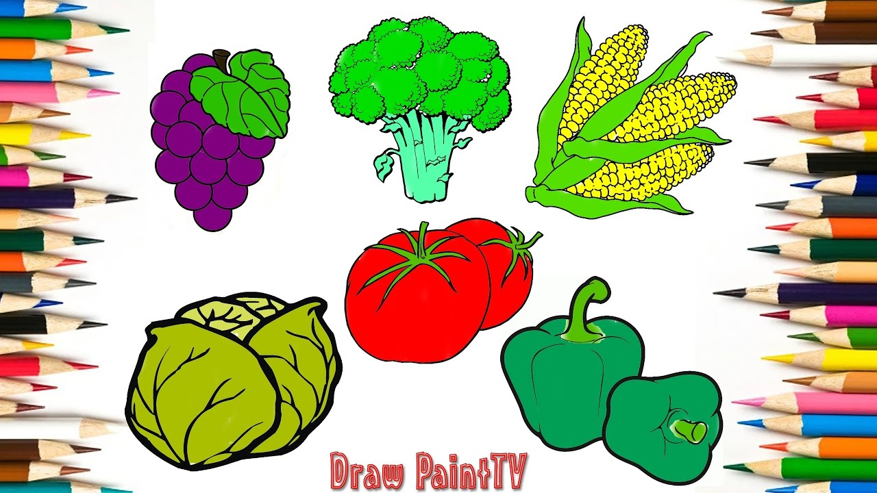 Baby Coloring Fruits and Vegetables, Grape, Cauliflower, Roasted ...