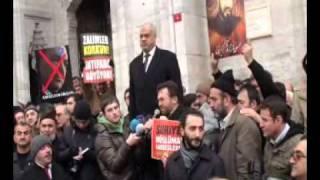 Istanbul Beyazıt`ta Mısır Halkına Destek Mitingi-Istanbulda Misir Xelqini Qollash Herikiti