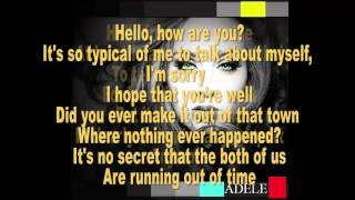 Adele - Hello - Instrumental / Karaoke with backing vocals  with Lyrics - High Quality