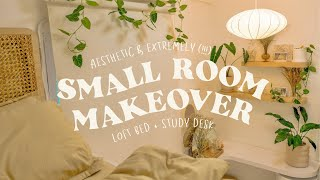aesthetic and extremely (!!!) small room makeover 🍃 • a 4sqm bedroom with loft bed + desk decor