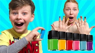 ALİ ANNESİNE OJE SÜRDÜ! Ali Paint the Nail Polish for mom Funny video