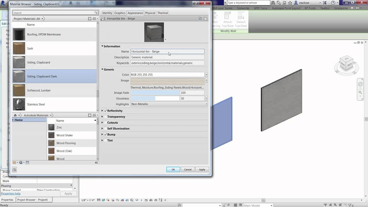 Changing The Color Of Material Appearance In Revit Youtube