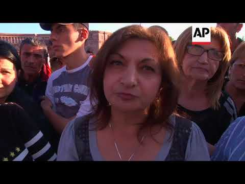 Opposition supporters gather in Armenia's capital